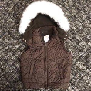 NWOT Gymboree Faux Fur Trimmed Puffer Vest-Size 4